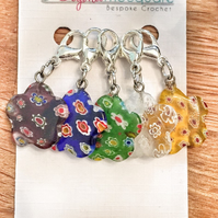 Multi coloured millefiori glass flower locking crochet, knitting stitch markers,
