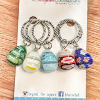 Multi coloured millefiori glass tear drop solid ring, knitting stitch markers