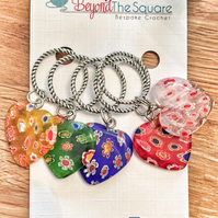 Multi coloured Millefiori glass heart solid ring, knitting stitch markers