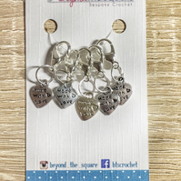 Tibetan Silver made with love crochet locking stitch markers,  progress keepers