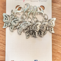 Tibetan Silver Butterfly crochet locking stitch markers,  progress keepers