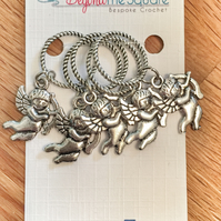 Tibetan Silver Cherub Knitting solid ring stitch markers, keepers