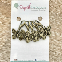 Antique Bronze Butterfly crochet locking stitch markers,  progress keepers