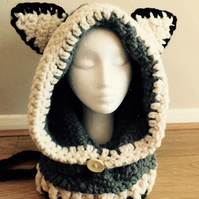Crochet Fox, Wolf Cowl with Hood, for Adult UK