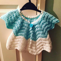 Chevron Pattern Crochet Baby Cardigan with button detail 12-18 Months