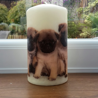 pug decorative  candle