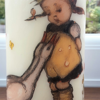 decoupage pillar candle