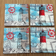 lighthouse coasters - lighthouse decor - nautical decor - wooden coasters