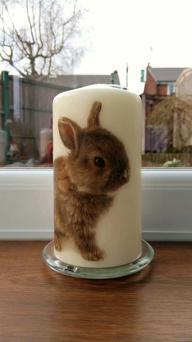 bunny decorated candle