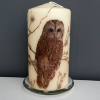 woodland owl decorated candle
