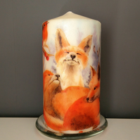 decorated fox candle