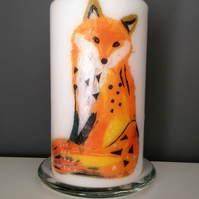 woodland fox decorated candle