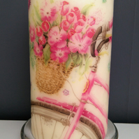 decorative pink floral bike candle