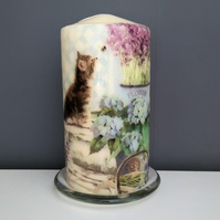 decorated pillar candle