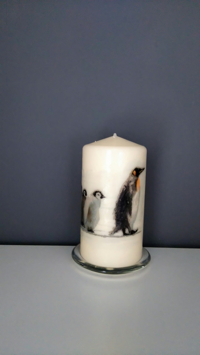 penguin family candle