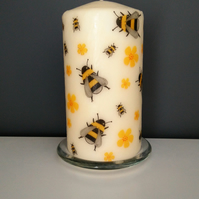 bee decorated candle