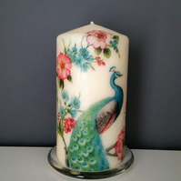 floral peacock candle