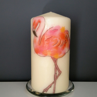 flamingo decorated candle