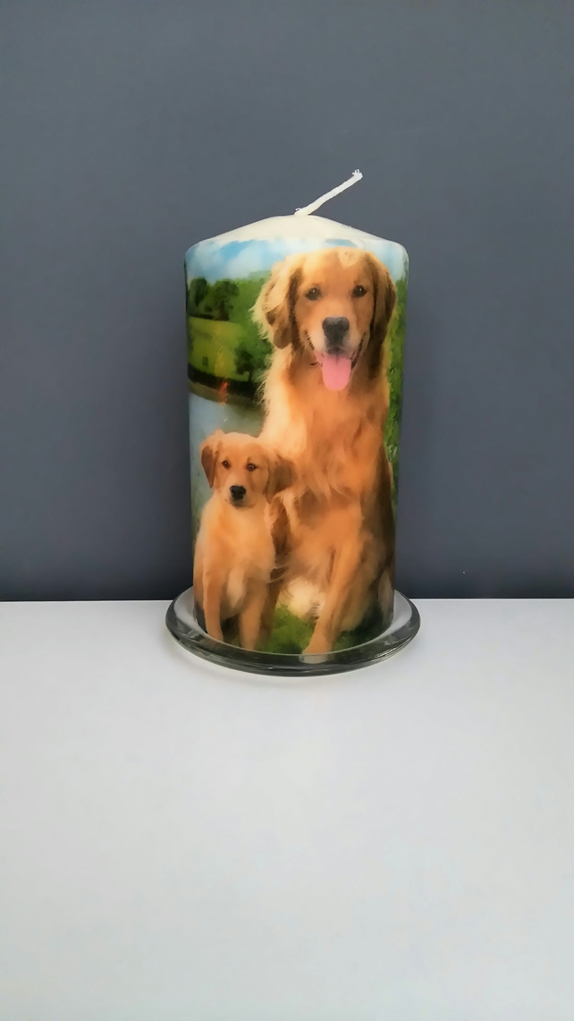 golden retriever dogs decorated candle