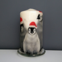 penguin christmas candle