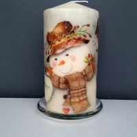 snowman christmas candle