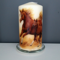 decorated horse pillar candle