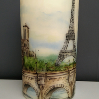 paris decorated candle
