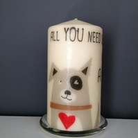decorated dog candle