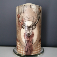 brown deer pillar candle