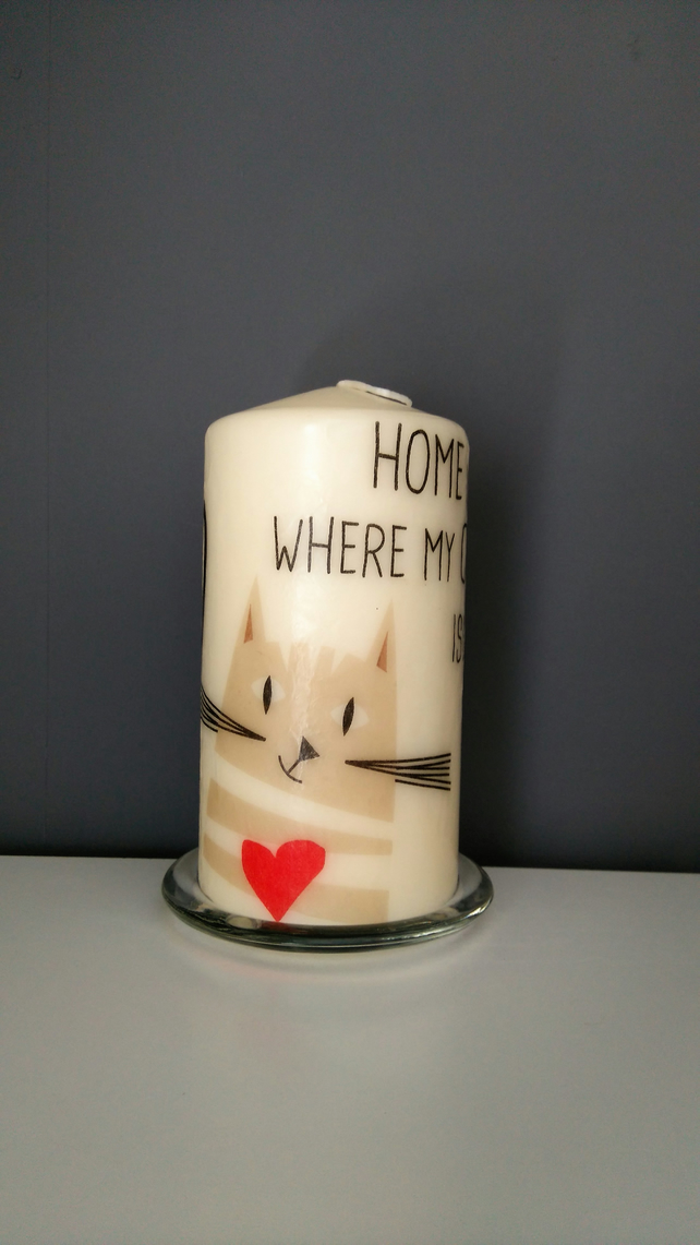 cat pillar candle