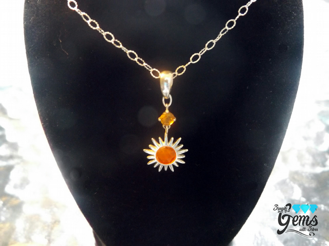 Carnelian and Citrine Sun Necklace