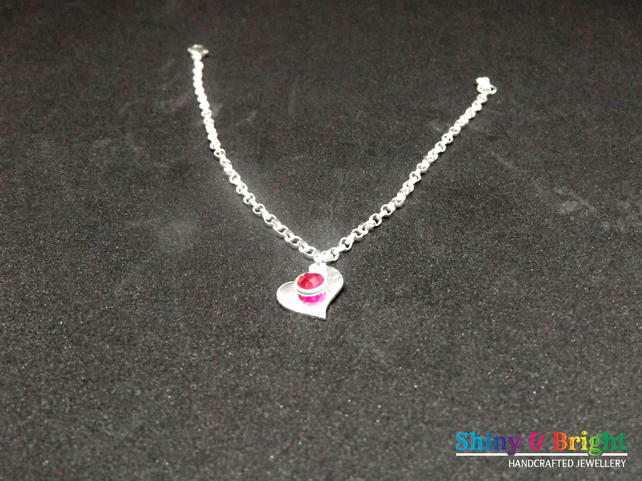 Silver Heart Ruby Drop Bracelet