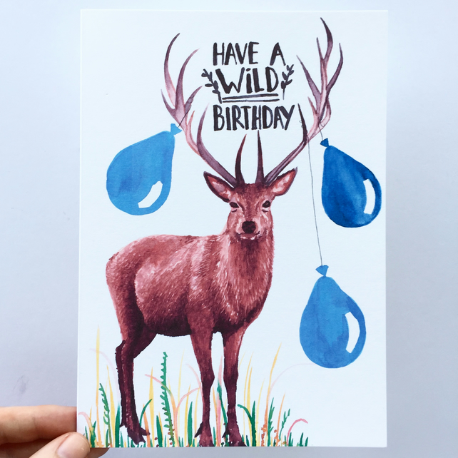 Watercolor stag have a wild birthday card folksy watercolor stag have a wild birthday card bookmarktalkfo Image collections