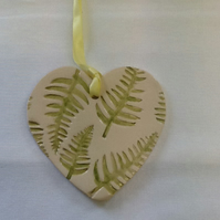 Green fern heart Ceramic Plaques Pottery