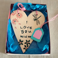 Ceramic Mother's Day heart gift, wall hanger, flowers