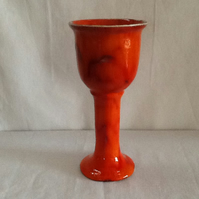 Large fiery orange and red goblet