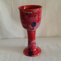 Large red with blue splashes goblet