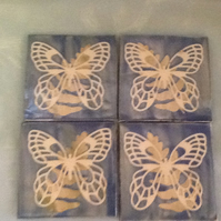 SALE!!!Blue butterfly ceramic coasters