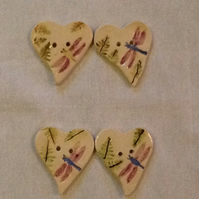 Set of four heart shaped ceramic buttons