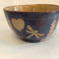 Bowl, rustic heart and dragonfly design