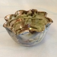 Shabby chic, slip decorated with dragonflies  bowl
