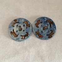 Pair blue round ceramic buttons
