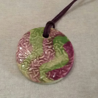 Celtic Patterned Ceramic Pendant, Unisex. Valentines Gift. Tribal Jewellery.