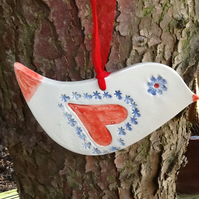 Ceramic Folk Art Bird with Love Heart.Pretty Valentines Gift or Mothers Day Gift