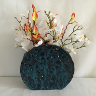 Peacock Blue Wheel Vase.Slab Built,Handmade, Homeware, Home Decor, Unusual