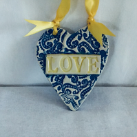 Lace Patterned Ceramic Heart Wall Hanger. LOVE. Gift for Her. Home