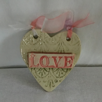Ceramic Heart Shaped Wall Hanger. LOVE. Lace Patterned. Gift for Her.