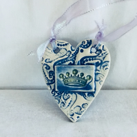 Blue Lace and Crown Ceramic Heart Wall Hanger , Pottery,Ceramic Plaques,Home