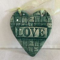 Heart Shaped Ceramic Plaque with LOVE on Basket Weave Background, Pottery, Home