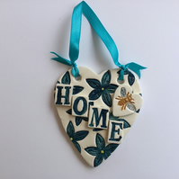 Teal  Flowers and Bee Ceramic Heart with HOME  wall Plaque Pottery